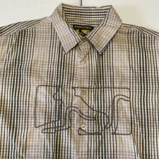 Drunknmunky Button Shirt -L- Olive Green Beige - Regular Fit - Short Sleeve
