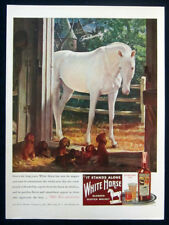 1946 White Horse Scotch Whiskey large print ad - horse, puppies in stable