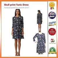 #SundayMarket Skull print Vintage Stretchable Casual Dress Tunic Size 8 10 12 14