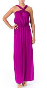 Studio M ~ Berry Purple X Neck Twist Bodice Blouson Maxi Dress Gown S NEW $118