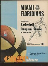 1968/1969 ABA Basketball Program Kentucky Colonels at Miami Floridians EX