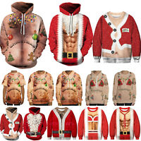 Men Women Sweatshirt Hoodie Pullover Christmas 3D Santa Ugly Sweater Jumper Tops