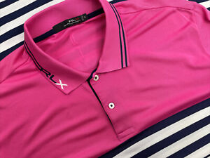 Ralph Lauren RLX Mens XL Golf Polo Short Sleeve Pink Blue Stripe LGCC LaGrange