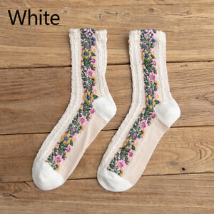 Women Girl Flowers Embroidered Braided Ankle Socks Soft Casual Cotton Socks
