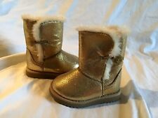 CIRCO SOX-TAB Youth Girl's Boots Gold Glitter & Off White Faux Fur Size 5 *NWOT*