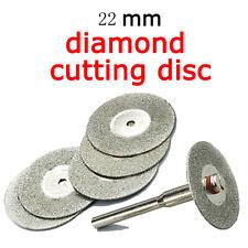 Hot 5 PCS 22mm Emery Diamond cutting blades Drill Bit+1 Mandrel Universal NEW