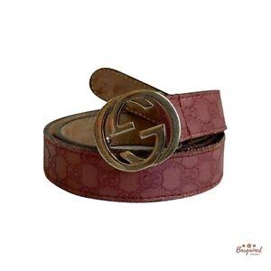 Authentic GUCCI Pink Kid's Interlocking G Guccissima Leather Belt Size M 258395