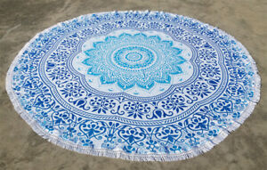 Blue Green Round Hippie Boho Tapestry Beach Picnic Throw Towel Blanket Cover
