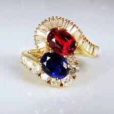 1950s Moi et Toi Bypass Ring Vivid Ruby Sapphire Diamond 14K Yellow Gold Wedding