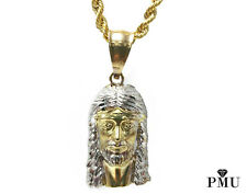 "Real 10k Yellow Gold Jesus Piece Pendant with 22"" Rope Chain Set Hiphop Jewelry"