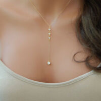 Dainty Rhinestone Necklace Y Lariat 4 Drop Delicate Gold Silver Simple Slider