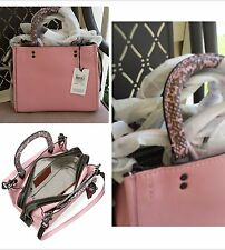 Coach 1941 Rogue 25 Colorblock Snake Glovetanned Leather Bag Tote RARE Pink