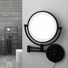 Bathroom Framed Mirrors Magnifying Led Light Wall-mount Toilet Round Mirror Set
