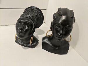 TWO 1930s Art Deco Metal Busts Of African Women Signed Geo Trevino Sculpture