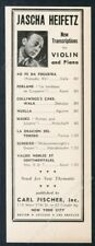 1942 Jascha Heifetz photo Carl Fischer violin transcriptions trade print ad