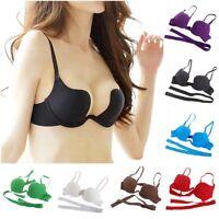 Women's Essentials Deep U Multi-Way Convertible Push Up Plunge Bra plus plunge