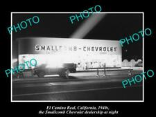 OLD LARGE HISTORIC PHOTO OF EL CAMINO REAL CALIFORNIA, THE CHEVROLET GARAGE 1940