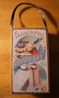 Vintage Style Retro Christmas Artist's Set Toy Box Hanging Holiday Ornament NEW