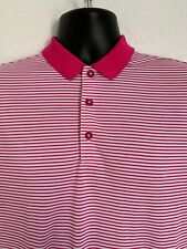 Nike Golf Men's Medium Dri-Fit Polo Shirt Bright Pink White Stripes NWOT