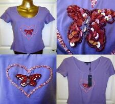 NEW SUPERB KAPALUA PURPLE LILAC BEADED BUTTERFLY TOP WITH STRETCH IN SIZE 12