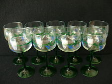 Beautiful set of 9 French hand painted wine glasses France
