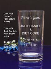 Personalised Engraved Hi ball mixer spirit JACK DANIEL AND DIET COKE glass 66