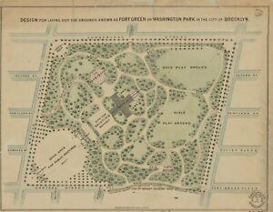 1867 FORT GREENE WASHINGTON PARK BROOKLYN NEW YORK ATLAS MAP