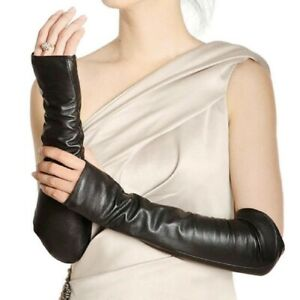 Fingerless Synthetic Leather Ladies Long Sleeve Elbow Driving Gloves -new
