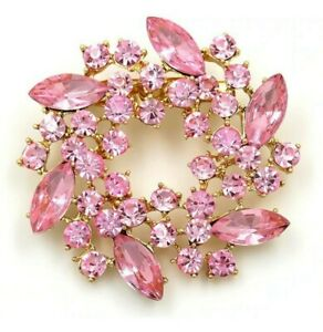 BROOCH Circular Pale Pink Rhinestone Crystal Pin-on Brooch  Mothers Day Gift