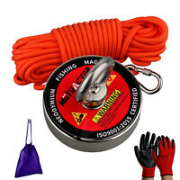700lbs Strong Fishing Magnet Kit N52 Sea River Metal Recovery Detect Rope GLV