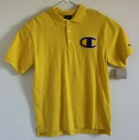 NWT Champion Polo Shirt Big Chenille C Logo Yellow Pique Men's Size Med M