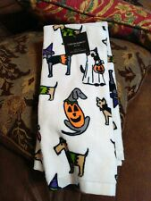 Cynthia Rowley Dogs in Halloween Costumes Kitchen Towels Set Of 2 New