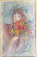 signé Isa Célini daté 1992 Portrait Femme Fleurs Aquarelle Watercolor Painting