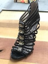 9d6e9d881d8e4 Sam Edelman Hampton Ankle Strap Black Leather Snake Sandal Stiletto Heel 8M  NEW