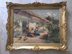 """Hungarian """"Village scene"""" oli on canvas  painting signed lower left Kaufmann"""