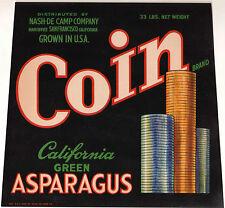 *Original* COIN Stacks of Money NASH-DE CAMP Green Asparagus Label NOT A COPY!!