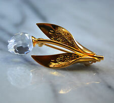 Vintage Swarovski Crystal Tulip 18K GP Brooch Pin Signed with SWAN mark