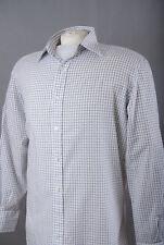 """T.M. Lewin L171/68 Algodón Lino Camisa Formal Cuadros Blancos 16"""" 41 cm, pecho 35"""" 90"""