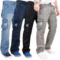 Enzo Mens Cargo Combat Jeans Casual Work Denim Pants Trousers All Waist Sizes