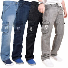 Enzo Mens Cargo Combat Jeans Casual Work Trousers Denim Pants All Waist Sizes