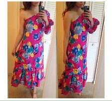 VTG 70s Manes Fabric Company One Shoulder Hot Pink Floral Ruffle Dress M 6