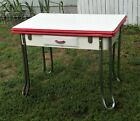 Vintage Art Deco Enamel porcelain table with pull out leaves and drawer NICE!