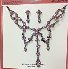Genuine Austrian Crystal Pink in GunMetal Necklace & Earring Set NEW AC3