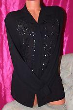 """OPERA Richards noir paillettes perles chemisier Femme Taille 12 buste 44"""""""