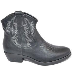 Stivaletti camperos donna nero basso texano tacco western comodo a punta con zip