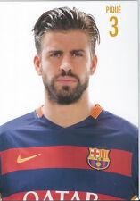Postal postcard  3 PIQUE jug.  FC BARCELONA 15/16