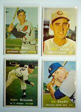 1957 Topps Lot (4) NRMT cards including Jim Landis #375 ROOKIE PSA Gradable
