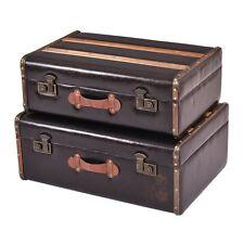 2 Vintage Retro Style Suitcase Hard Chests Travel Luggage Storage Boxes Case Set