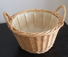 Round Shallow Wicker Basket with Handles as hamper; gift; fruit