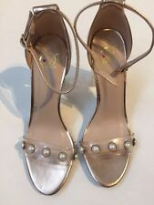 Heart In D Women Club Shoes Transparent  High Heel Metallic Sexy Size 6.5 Pearl